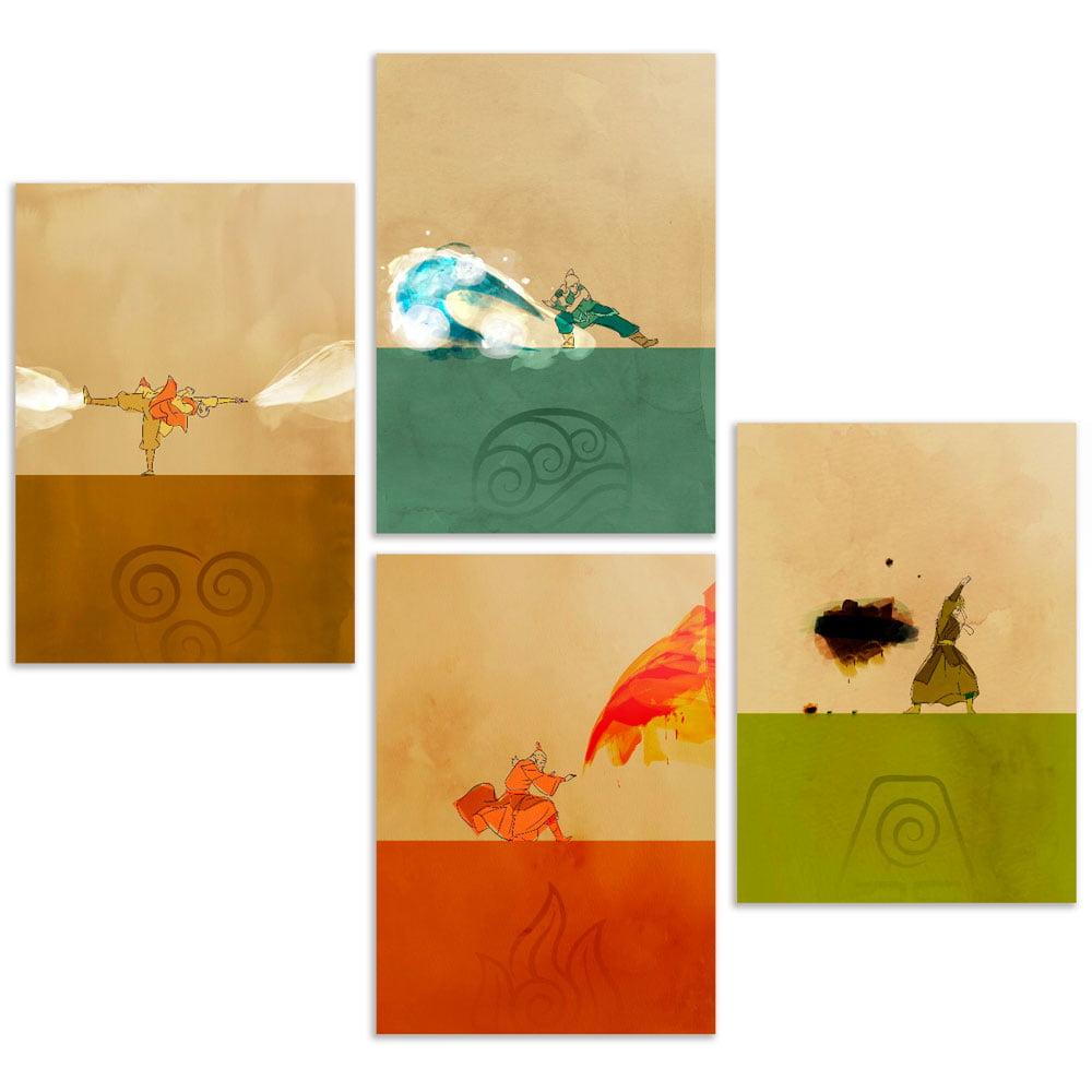 Coleção 4 Quadros Avatar elementos Agua Fogo Terra Ar