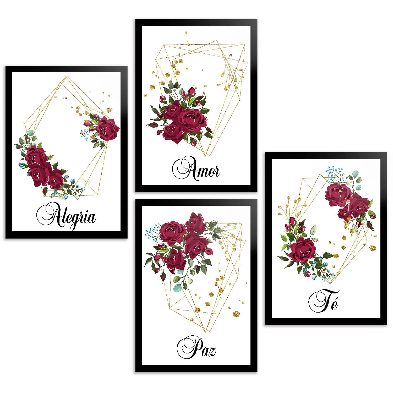 Coleção 4 placas decorativas flores vermelhas
