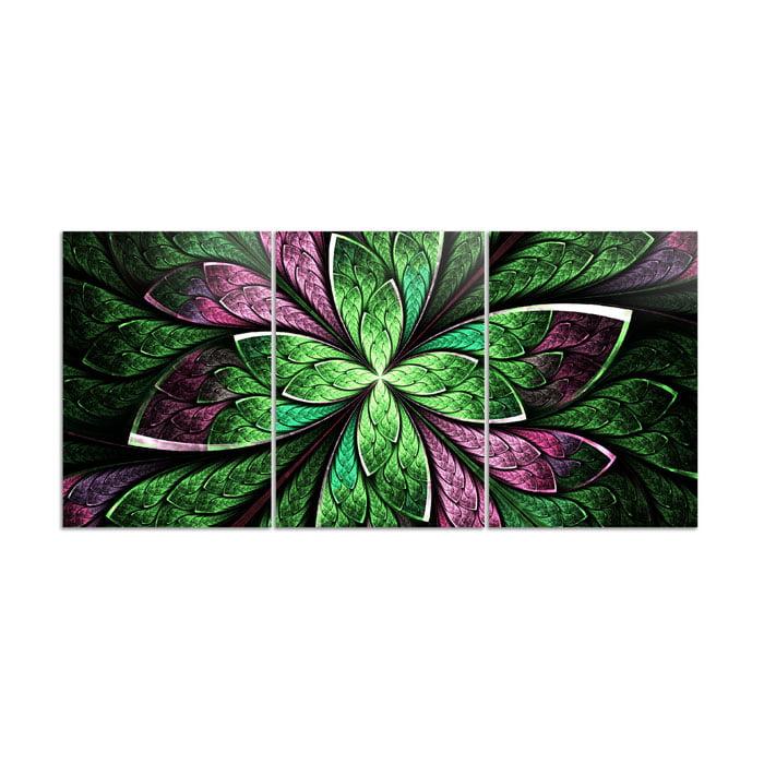 Mosaico 3 peças vitral abstrato flor verde