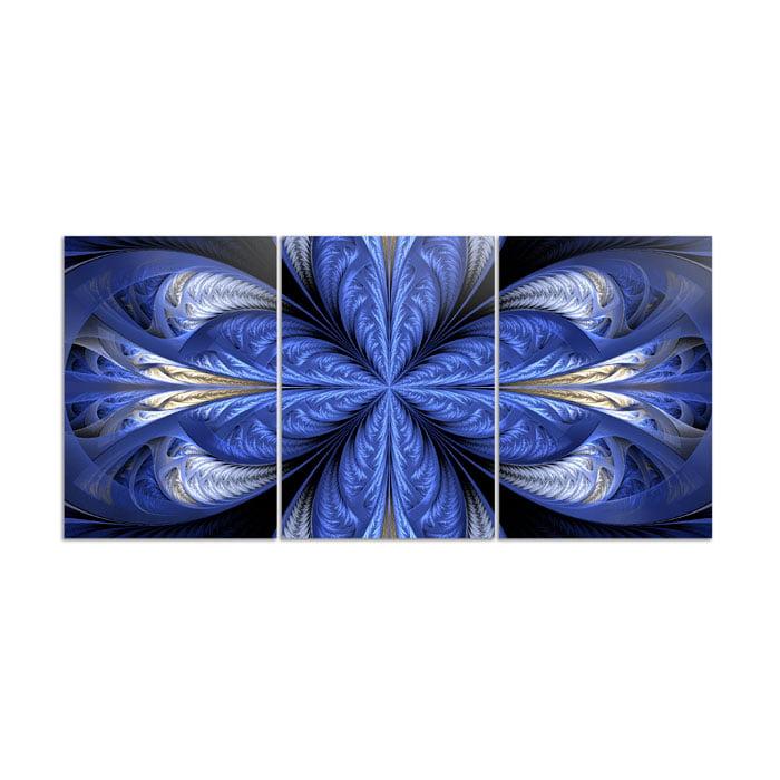 Mosaico 3 peças abstrato Azul