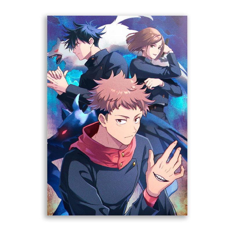 Quadro poster jujutsu kaisen personagens