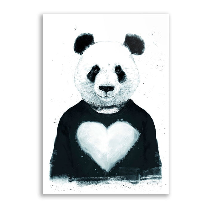 Quadro Panda coração