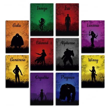 Coleção 10 Placas decorativas fullmetal alchemist