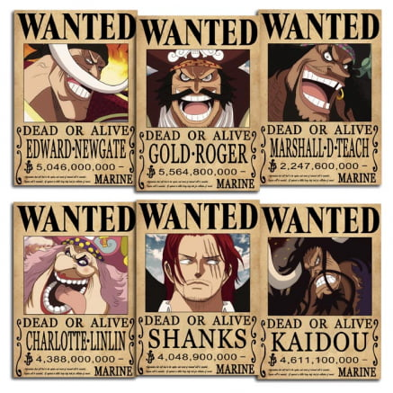 Coleção 6 Placas decorativas One piece Wanted Yonkous e Gold Roger