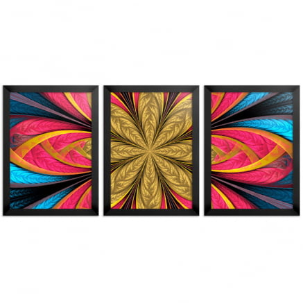 Mosaico 3 peças abstrato Flor dourada e rosa