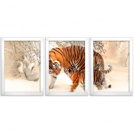 Mosaico 3 peças tigres
