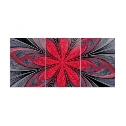Mosaico 3 peças abstrato Flor vermelha