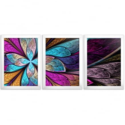 Mosaico 3 peças vitral abstrato flor