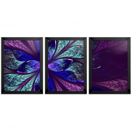 Mosaico 3 peças fractal Azul anil
