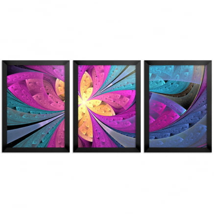 Mosaico 3 peças fractal Rosa
