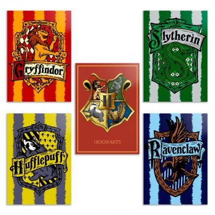 Coleção 5 placas decorativas Harry potter casas de hogwarts