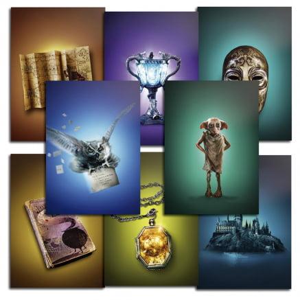 Coleção 8 placas decorativas Harry Potter