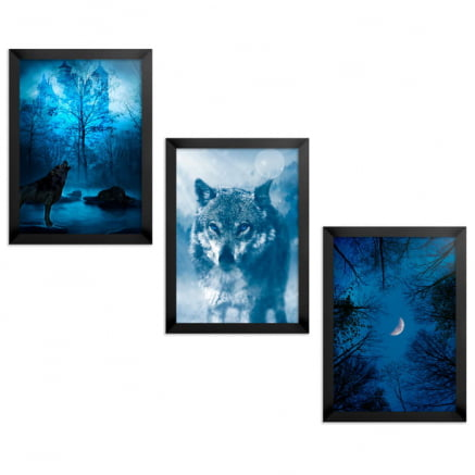 Trio Quadros ou Placas Decorativas Lobo Azul
