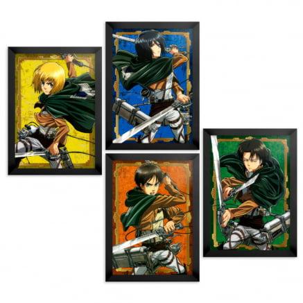 coleção 4 quadros attack on titan personagens