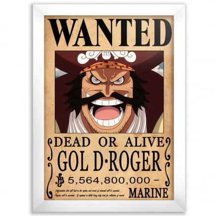 Quadro one piece wanted Gol D Roger