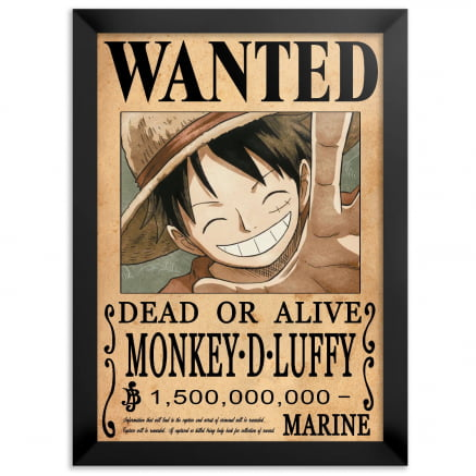 Quadro one piece procurado luffy