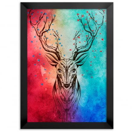 Quadro cervo colorido