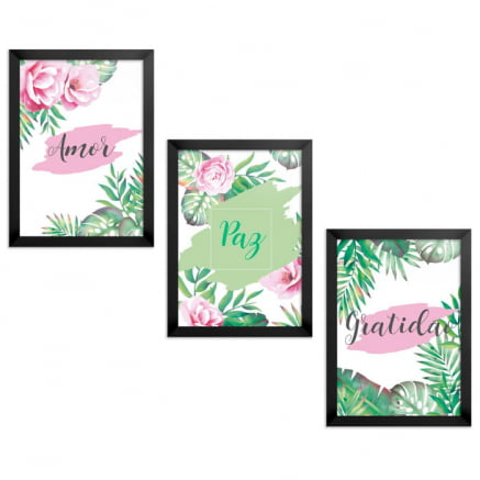 Trio Quadros ou Placas Decorativas Floral 1