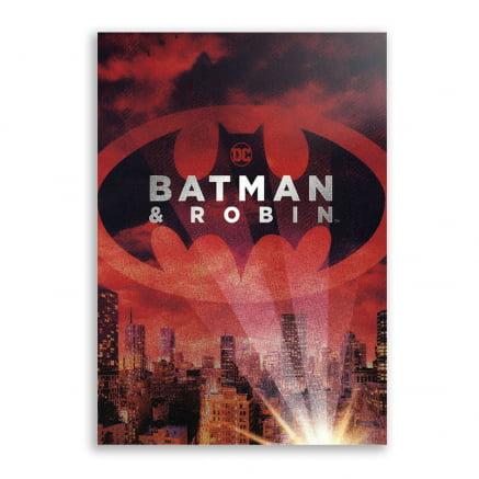 Quadro Batman e Robin batsinal vermelho
